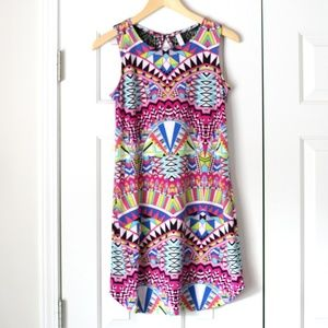 Multicolor print sleeveless comfy dress